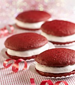Red Velvet Whoopie Pies with Ribbon