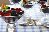 Glass Bowls of Berry Salad