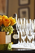 Yellow Rose Arrangement with Glasses and Sparkling Wine Set for a Special Occasion