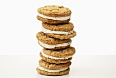 Stack of Oatmeal Whoopie Pies; White Background