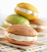 Cherry Whoopie Pie with Assorted Flavored Whoopie Pies in Background
