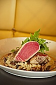 Seared Tuna on Seafood Risotto with Arugula