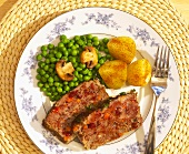 Venison Meatloaf Dinner with Peas and Paprika Potatoes
