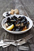 Bowl of Mussels in White Wine Tomato Broth
