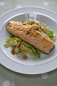 Pan Fried Trout with Horseradish and Cabbage; Almond Slices