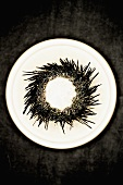 Sea Urchin on a White Plate; From Above