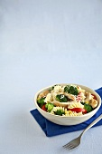 Rotini Pasta with Chicken and Veggies in a Bowl