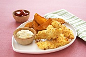 Fried Fish Sticks with Potato Wedges; Tartar Sauce and Ketchup