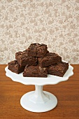 Chocolate Brownies on Wooden Pedestal Dish