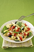 Penne Pasta Salad with Olives Tomatoes and Fresh Basil
