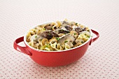Beef Stroganoff in a Serving Red Dish