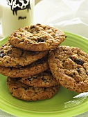 Plate of Oatmeal Raisin Cookies with a Glass of Milk