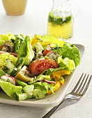 Salad Made with Butter Lettuce, Tomatoes and Radishes; Pitcher of Dressing