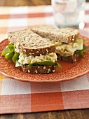Egg Salad Sandwich on Multi-Grain Bread; Halved