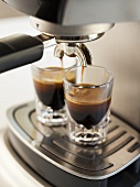 Double Espresso Shot Pouring Out of Machine