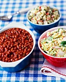 Baked beans and salad for a picnic and a barbecue party