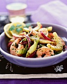 Prawns with fennel and red onions