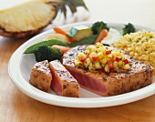 Seared Tuna with Pineapple Salsa, Orzo and Steamed Veggies
