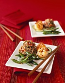 Asian Appetizer Plates with Green Beans, Shrimp and Soba Noodles; Chopsticks