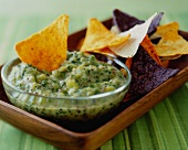 Green Chili Pepper Dip with Tortilla Chips