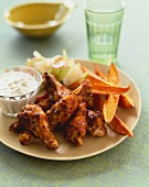 Chicken Wings with Sweet Potato Fries and Dipping Sauce