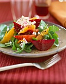 Warm Beet Salad with Cheese and Greens