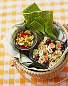 Picnic Basket Lunch with Chicken Salad and Corn and Zucchini Salad