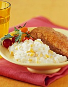 Mashed Potatoes with Corn and Polenta Crusted Chicken