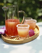Grapefruit Margaritas on a Tray; In Glasses and a Pitcher