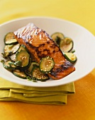 Teriyaki Salmon with Sliced Zucchini and Sesame Seeds