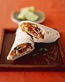 Thai Chicken Wrap; Halved
