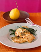 Chicken Scallopine with Lemon and Cilantro Sauce with Green Beans