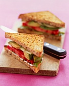 Cucumber, Tomato and Avocado Sandwich on Multi-Grain Bread