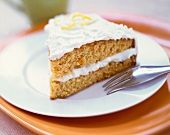Slice of Double Layer Carrot Cake with Cream Cheese Frosting