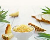 Bowl of Chopped Pineapple; Fresh Pineapple Slices