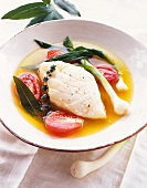 White Fish in Broth with Tomatoes and Green Onions