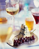 Champagne Grapes and Blue Cheese with Various Wines