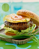 Hawaiian Hamburger on a Wooden Dish