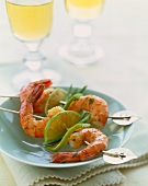 Two Shrimp and Lime Skewers on a Small Plate
