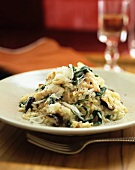Spinach risotto with mushrooms and Parmesan