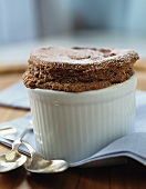 Chocolate souffle in a ramekin