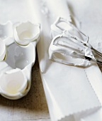 Empty Egg Shells and Meringue Covered Beaters