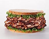 Sliced Turkey and Lettuce Sandwich on Rye Bread