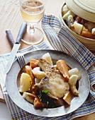 Serving of Chicken Fried Pork Chop with Stewed Veggies