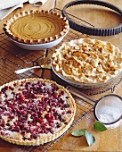 Three Pies on a Cooling Rack; Pumpkin, Sour Cream Apple, Cranberry Nut