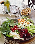 Crudite Platter with Pesto Dipping Sauce