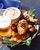 Grilled Chicken Pieces with Beer and Aioli Sauce