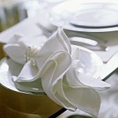 White napkins with rings on a white plate