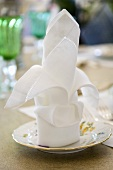 A folded napkin on a saucer