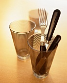 Cutlery in a drinking glass